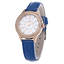 Women Quartz Watch 30M Water Resistance Shell Rhinestone Dial Wristwatch-BLUE