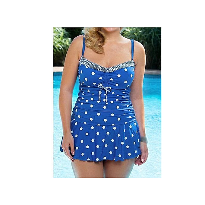 ffc080a0f46 Wenrenmok Store Womens Plus Size Ladies Two Piece Swimsuit Skirted Swimwear  Swim Dress Costume - Blue