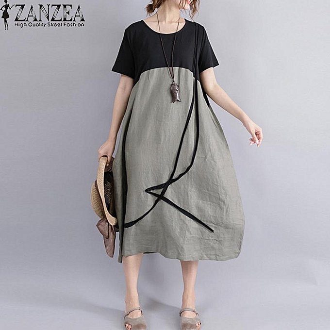 f7745d1f3ff ZANZEA Summer Women Oversized Loose Plus Size Stiching Patchwork Short  Sleeve Linen Cotton Midi Dress Casual