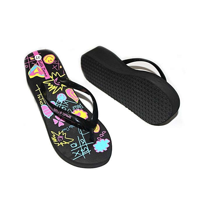 cdab94c9 Home Slippers Cartoon Candy Color Flip-Flops Women EVA Beach Shoes-black