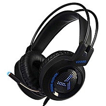 V2000 Professional Wired Gaming Headphone 3.5mm Stereo Bass LED Over-ear Headset Headphones With Mic