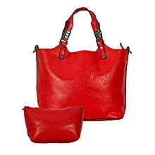 Maroon/Red 2-in-1 PU Leather Handbag.