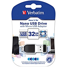 32GB Store 'n' Go Nano USB Drive with Micro-USB Adapter - Black