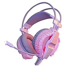 Headphone Gaming, Gaming Headphones G7000 Function/Breathing LED Light Earphones (Pink)