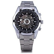 Men Hollow Automatic Mechanical Watch Stainless Steel Band - Black