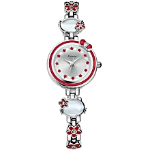 Silver Exquisite Red Flower Decorated Round Dial Watch + Free Gift Box