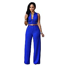 02d6de3bb New Women Elegant Sleeveless Belted Wide Leg Jumpsuit S-2XL Plus Size  Macacao Long Pant