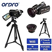 "ORDRO HDV-D395 Portable Camcorders Night Vision Full HD 1080P 18X 3.0"" Touch Screen Digital Video Camera Recorder DV Wifi LOOKFAR"