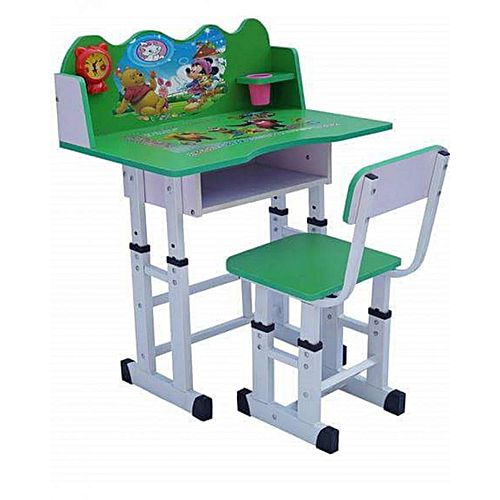 Kids Study Desk Green White