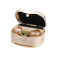 Earphone for Sport, HV-316T Bluetooth True Wireless Headphones Stereo Music Headset With Mic(Gold)