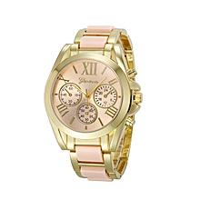Women Geneva Roman Numeral Gold Plated Metal/Nylon Link Watch PK