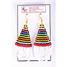 African Themed White Earrings (Round Edged)