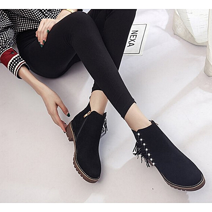 6d35d369b31 Womens boots female Short Booties Ankle Boots Winter Martin Boots Shoes  -Black 36-40