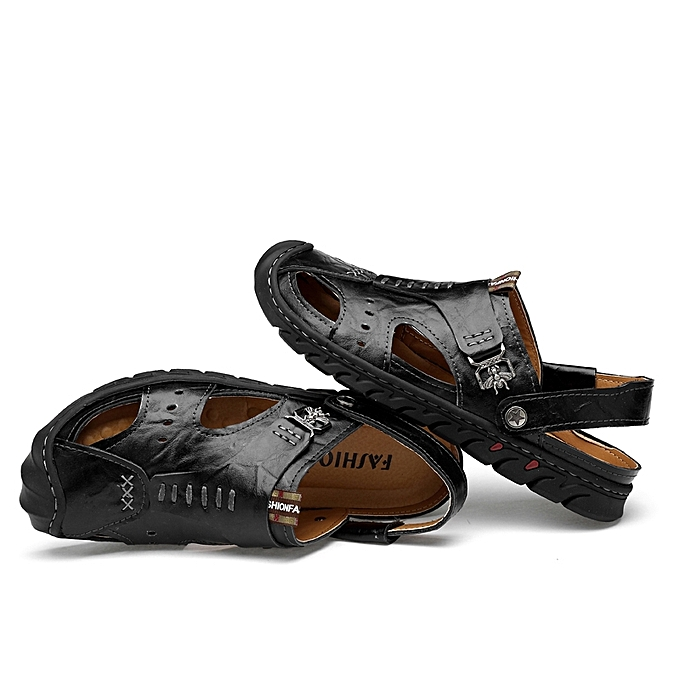 Men S Hollow Out Sandals Summer Casual Leather Beach Sandal Shoes Closed Toe