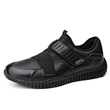 Spring Autumn Men Casual Fashion Shoes Leather Men Sneakers Breathable Men Outdoor Sports Shoes Breathable - black
