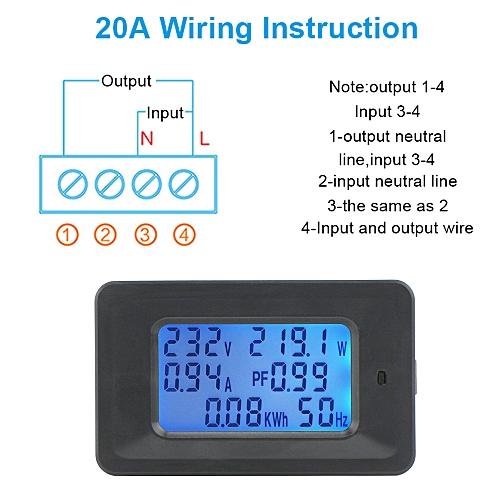 generic 20a digital voltage meter energy meter lcd 5kw power factor energy  frequency meters voltmeter ammeter current amps watt meter tester detector