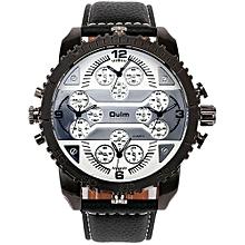 Watches, 3233 Men's Quartz Wristwatch Leather Strap 4 Time Zone Oversize Gear-shaped Bezel Watch - Black