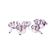 9-Piece Stainless Steel Cooking Pots - Silver