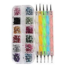1 Nail Box+5pcs Nail Marbleizing Tool Dotting Drill Pen Art Design Point Tools