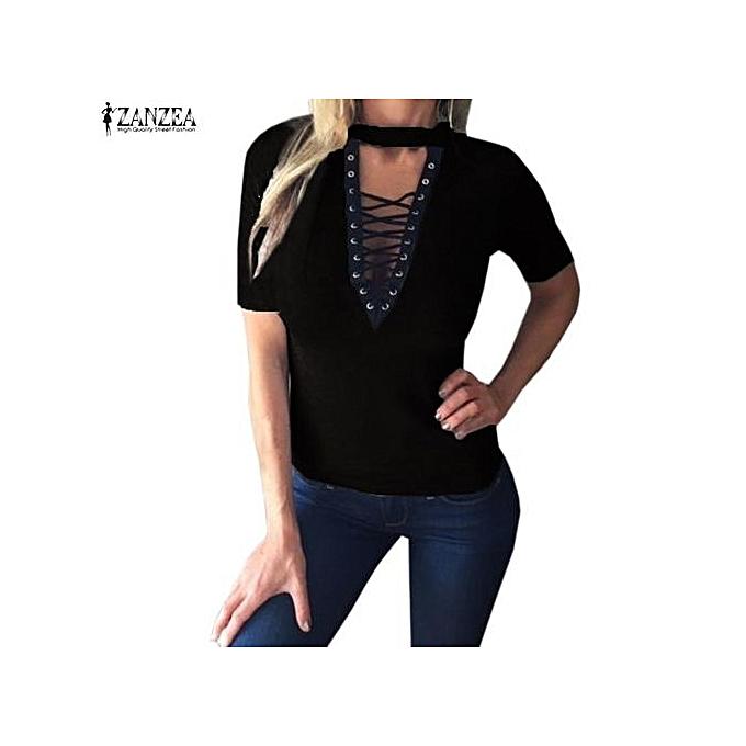f70b8755b5 ZANZEA Womens Choker Plunge Deep V Neck Lace-up Bandage Tops T-Shirt Short  Sleeve Casual Slim Shirt Tees (Black)