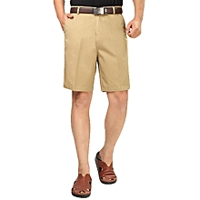 Summer Men's Casual Cotton Shorts Solid Color Thin Middle-aged Shorts Pants