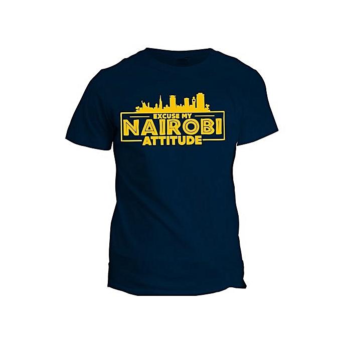 b68310d9032 Dona jewels Nairobi Attitude Navy Blue Printed T-Shirt Design   Best ...