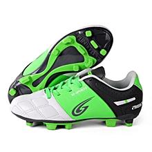 Zhenzu Outdoor Sporting Professional Training PU Children Football Shoes, EU Size: 33(Green)