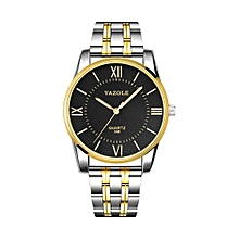 348 Men Fashion Business Steel Strap Band Quartz Wrist Watch Luminous Points (Black)