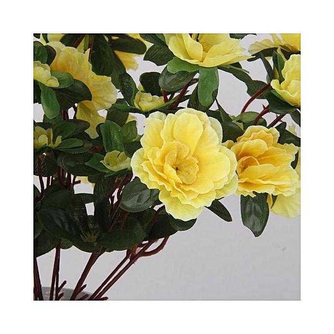 Magideal 2 Bunches Fake Azalea Artificial Flowers Bouquet Wedding Home Decor Yellow Buy Online