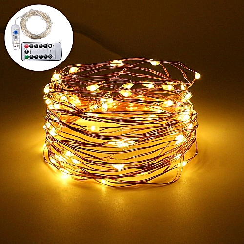 Generic Fairy Lights Usb Plug In With Timer Remote Dimmable 33ft 100 Leds Warm White Starry String For Bedroom Indoor Outdoor Decorative