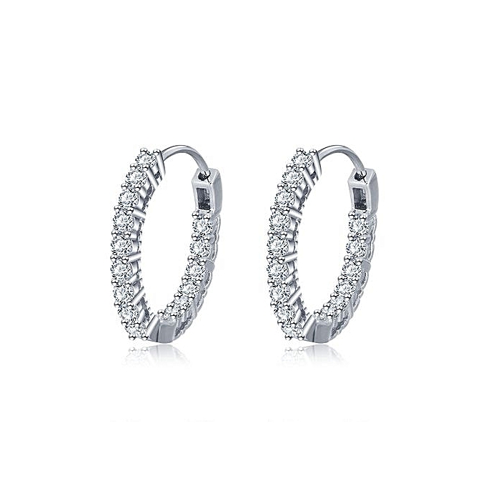 Cute Micro Setting Cz Solid 925 Sterling Silver Hoop Earrings