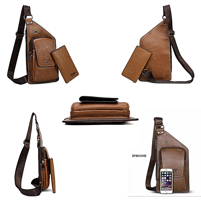 Jeep Buluo Brand Men Chest Bags 2 Pcs Set Summer Travel Sling Bag For Man Split Leather Corssbody Bag High Quality Male Bags Fine Quality Men's Bags Luggage & Bags