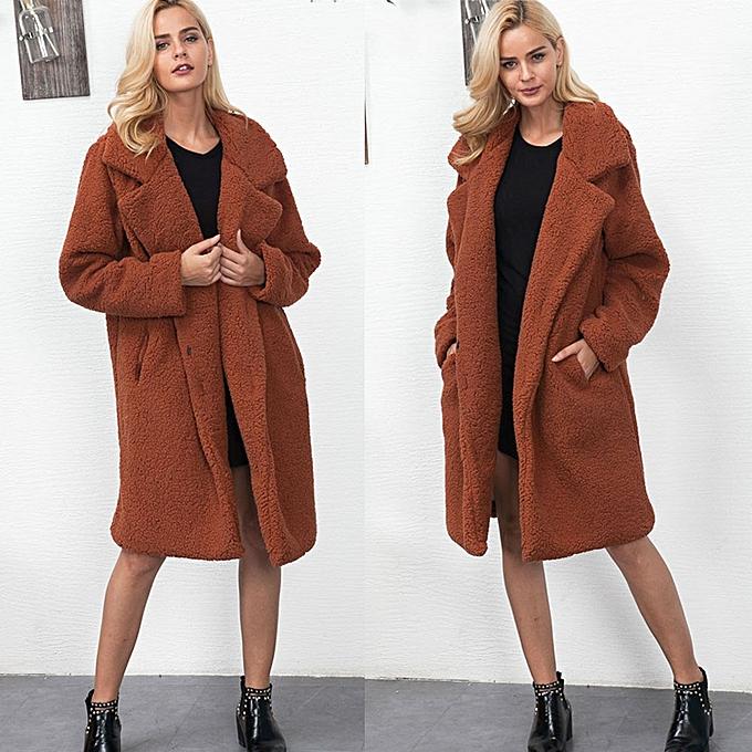 f2e7b43d83ee jiuhap store Winter Coat Women s Long Jacket Warm Parka Outwear Ladies  Overcoat Brown L-