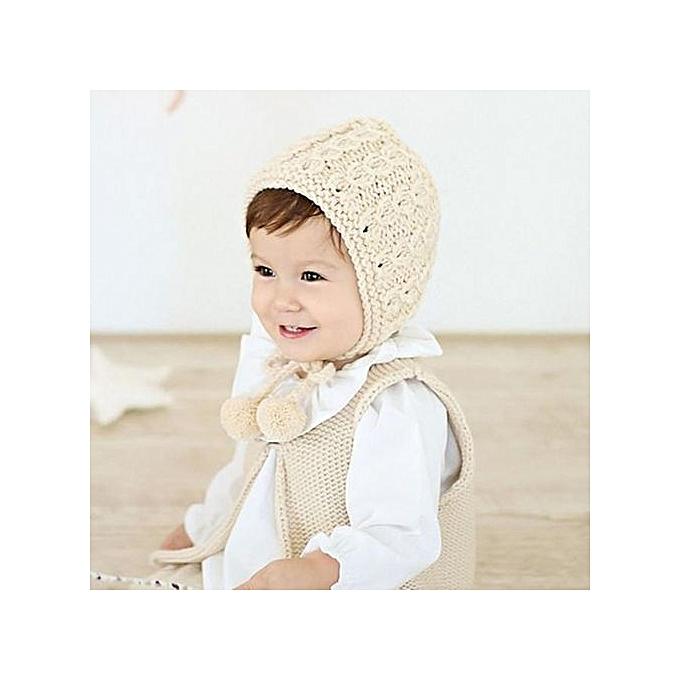 0d9867421de ... Braveayong Baby Toddler Kids Girl Knitted Crochet Beanie Winter Warm  Hat Cap BG -Beige ...