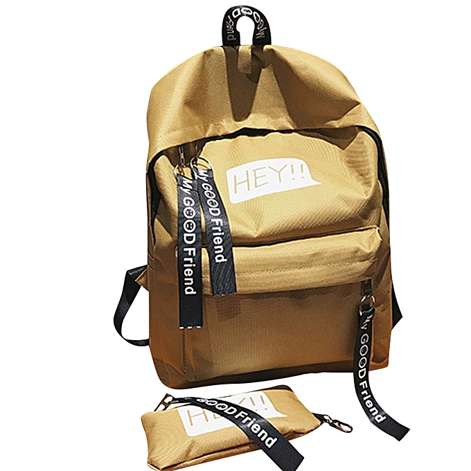 shioakp Unisex Canvas Print Two Set Double Shoulder Bag HandBag Backpack  Zipper Bag 6503306c5f