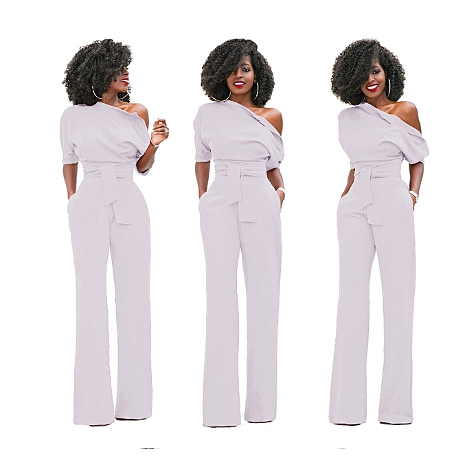 19252f30816 New arrivel Women Off The Shoulder Elegant Jumpsuits Women Plus Size  Rompers Womens Jumpsuits Short Sleeve Female Overalls-white