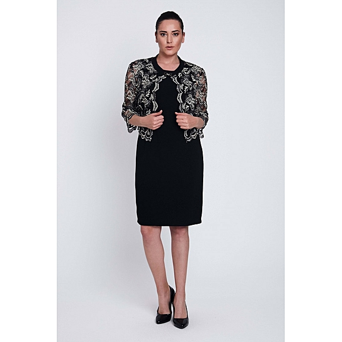 Buy Generic Crepe Dress Lace Jackets Plus Size Black Evening Wear
