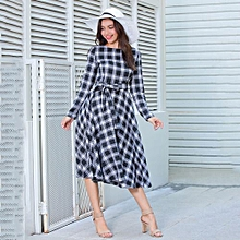 Women  Vintage Plaid Print Dress - Black