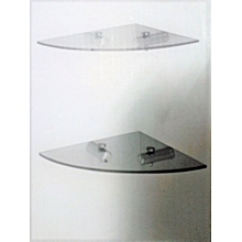 Wall Mounted  Chrome plated 2 Tier Glass Coner Shelf