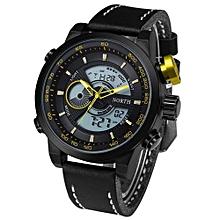 Fohting North Double Movement Alarm Clock Quartz Wrist Watch Leather Sports Men Watch YE -yellow