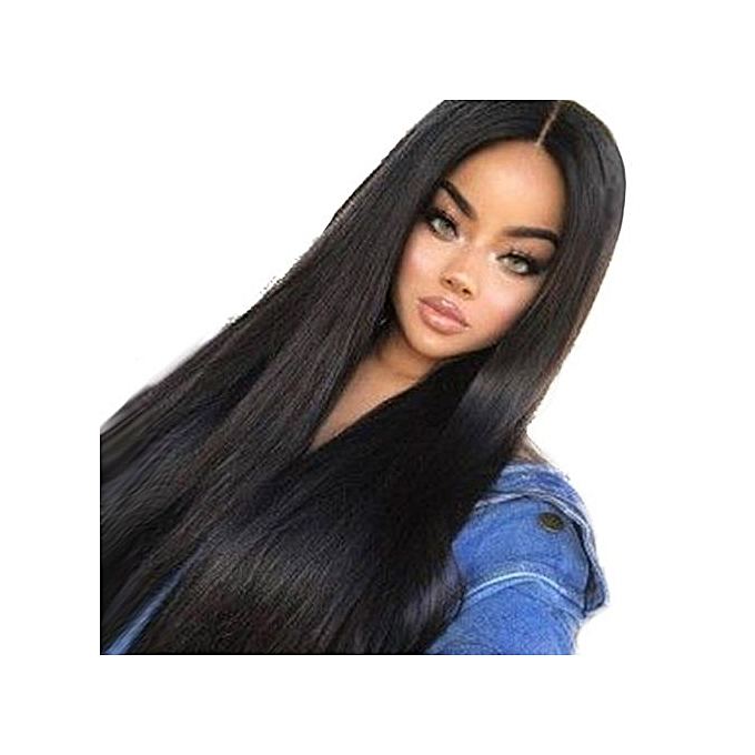 Generic Women Long Black Front Hairstyle Synthetic Hair Wigs For ... 027a187ce