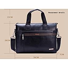 Men's Business Briefcase Commuter Handbag Single Strap Bag-Black