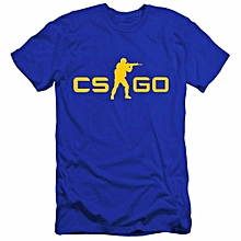 Men Counter Strike CS GO Short Sleeve T-shirts -Blue&Yellow
