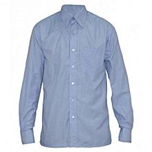 Blue Checked Long Sleeved Mens Shirts
