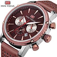 MINIFOCUS Men Chronograph Watches Men Sport Watch Leather Quartz-Watch Waterproof Clock Date Men's Wrist Watch Relogio Masculino 0010