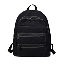 Canvas Boys and Girls Shoulder Bag School Bag with Double Zipper (Black)