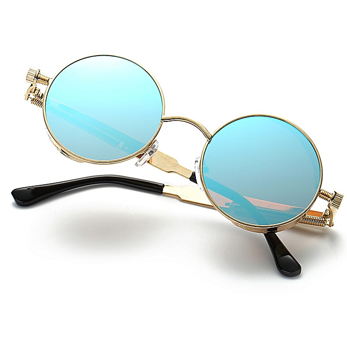 b7f5c4a9e06 Fashion Women s Round Frame Metal Retro Sunglasses - Gold Frame Ice ...