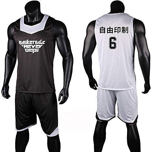 Eufy Double Side Men s Customized Team Basketball Sport Jersey Uniform-Black  White(XYH-3028) f78e3abae