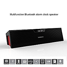 Sardine SDY-019 Portable Wireless Bluetooth Stereo Speaker with 2 X 5W Speaker Enhanced Bass Resonator, FM Radio, Built-in Mic, LED Display, Alarm clock, 3.5 mm Audio Jack, support TF card/Micro SD card and USB input(Black and Red) By BDZ