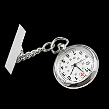 Large Face Nurses Pocket Fob Watch on a Bar with a Brooch Back Silver Color